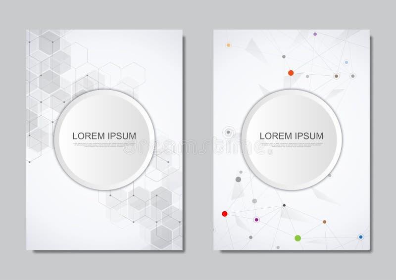 Дизайн брошюры или крышки вектора Геометрическая абстрактная предпосылка с соединенными точками и линиями Молекулярная структура  бесплатная иллюстрация