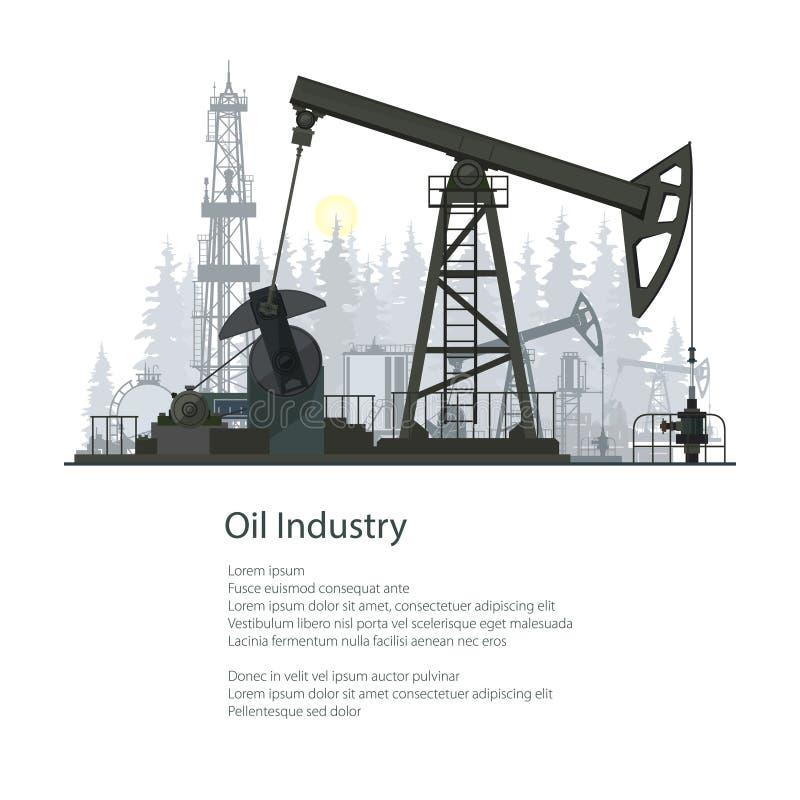 Дизайн брошюры плаката нефтедобывающей промышленности иллюстрация вектора