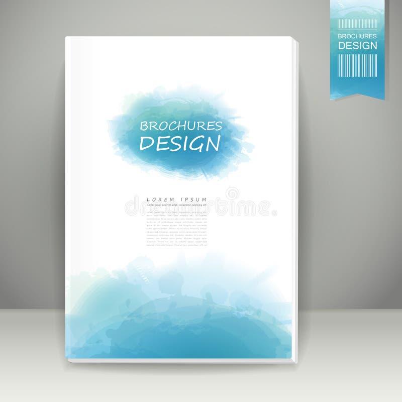 Дизайн брошюры стиля акварели в сини иллюстрация штока