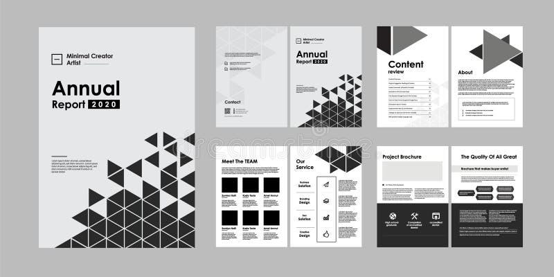 дизайн брошюры 02-Report творческий Универсальный шаблон со страницами крышки, задней части и внутренности Ультрамодное минималис стоковое изображение rf