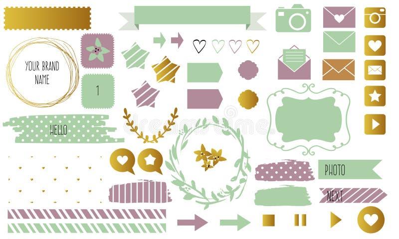 Дизайн блога установил с лентами, стикерами, логотипами, рамками, границами и дн иллюстрация вектора