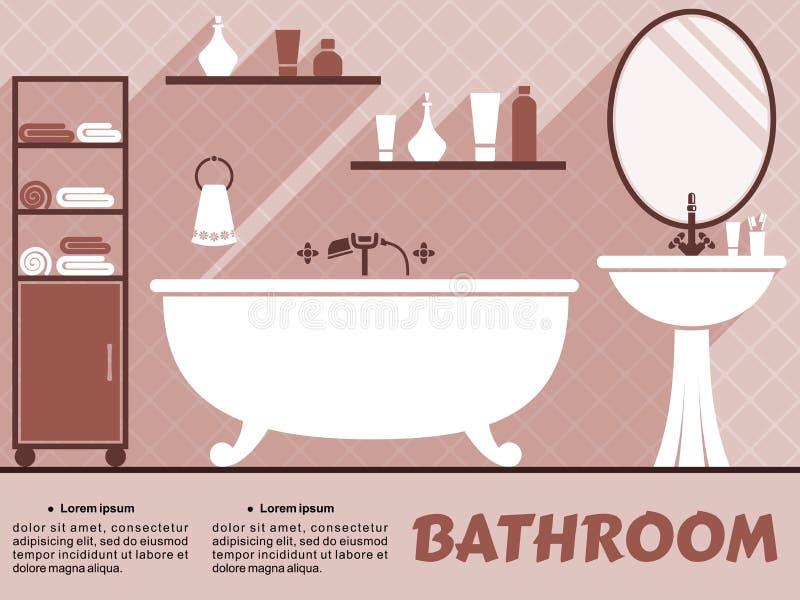 Дизайн ванной комнаты внутренний плоский бесплатная иллюстрация