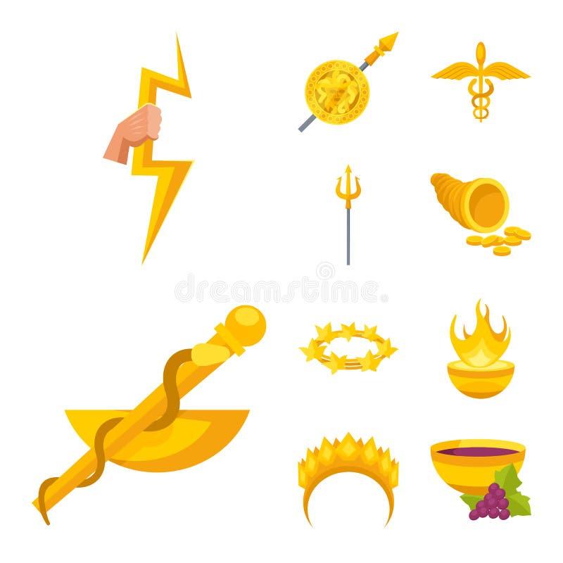Дизайн вектора атрибутов и греческого знака Установите атрибутов и значка вектора бога для запаса иллюстрация штока