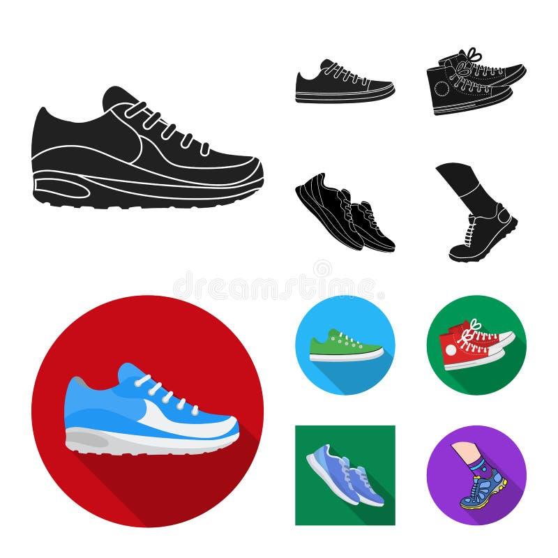 Дизайн вектора ботинка и знака спорта Собрание ботинка и иллюстрации вектора запаса фитнеса иллюстрация штока
