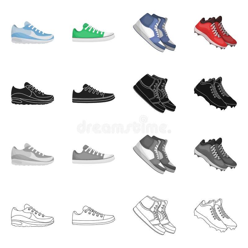 Дизайн вектора ботинка и знака спорта Установите ботинка и значка вектора фитнеса для запаса иллюстрация штока