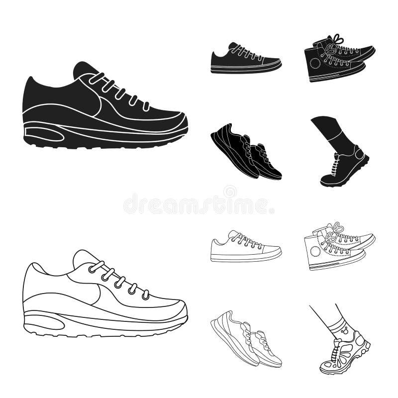 Дизайн вектора ботинка и значка спорта Собрание ботинка и значок вектора фитнеса для запаса иллюстрация штока
