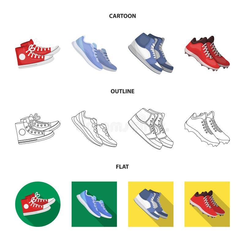 Дизайн вектора ботинка и значка спорта Собрание ботинка и иллюстрации вектора запаса фитнеса иллюстрация вектора