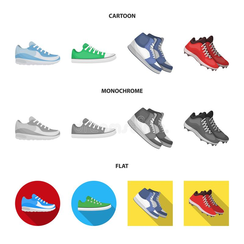 Дизайн вектора ботинка и значка спорта Установите ботинка и значка вектора фитнеса для запаса бесплатная иллюстрация
