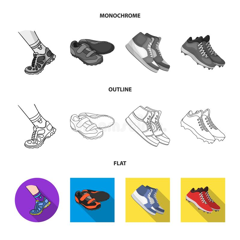 Дизайн вектора ботинка и символа спорта Собрание ботинка и иллюстрации вектора запаса фитнеса бесплатная иллюстрация