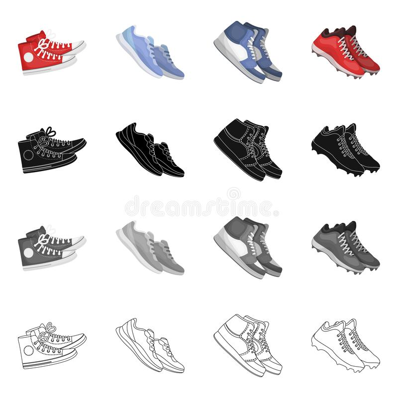 Дизайн вектора ботинка и символа спорта Установите ботинка и значка вектора фитнеса для запаса иллюстрация штока