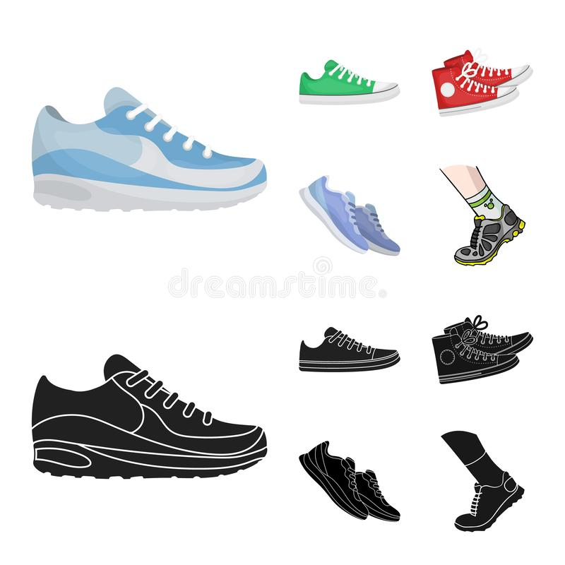 Дизайн вектора ботинка и символа спорта Установите ботинка и иллюстрации вектора запаса фитнеса иллюстрация вектора