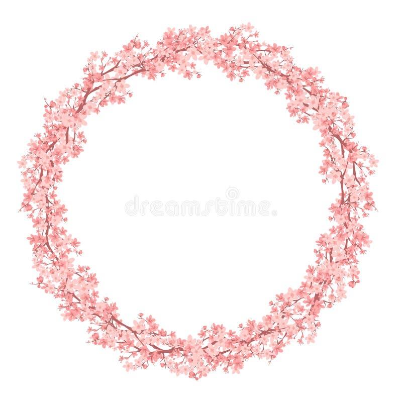 Дизайн вектора венка ветвей цветения Сакуры весеннего времени бесплатная иллюстрация