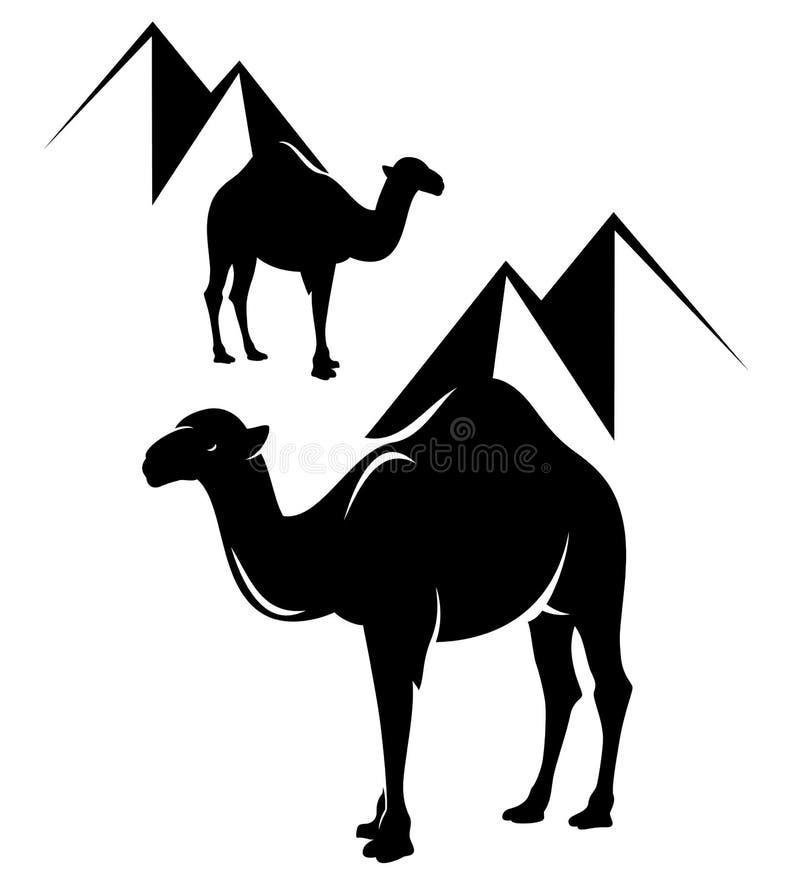 Дизайн вектора верблюда и египетских пирамид черный иллюстрация штока