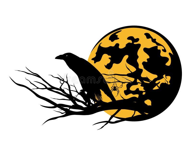 Дизайн вектора ворона и луны хеллоуина бесплатная иллюстрация
