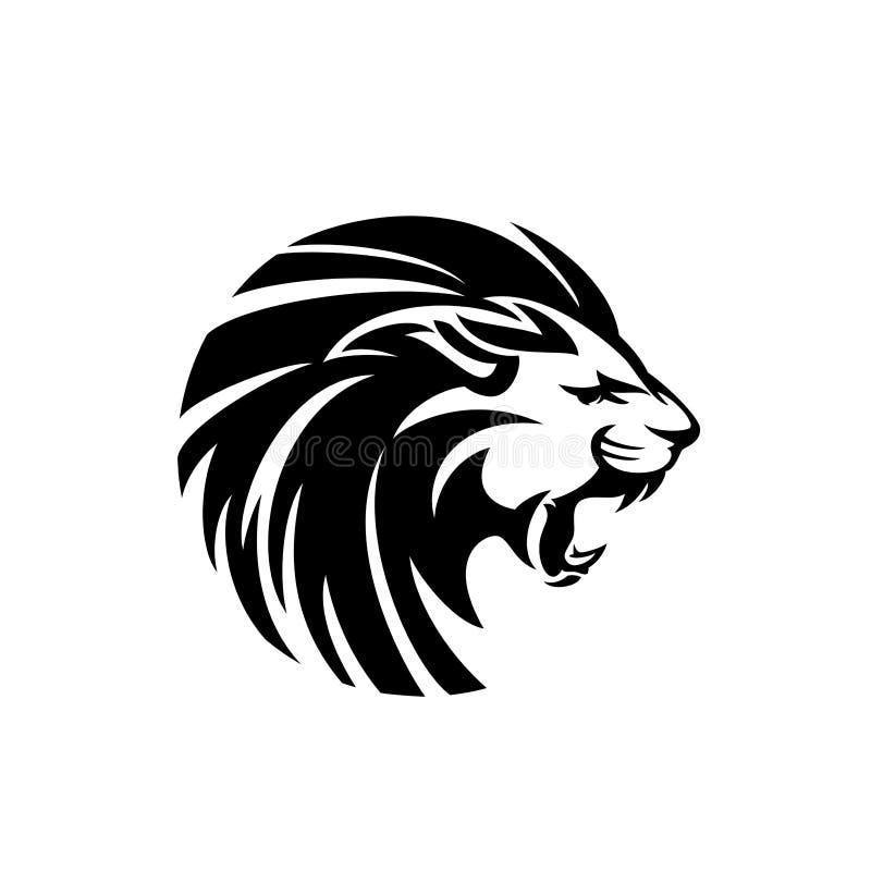 Дизайн вектора головы льва реветь черно-белый иллюстрация штока