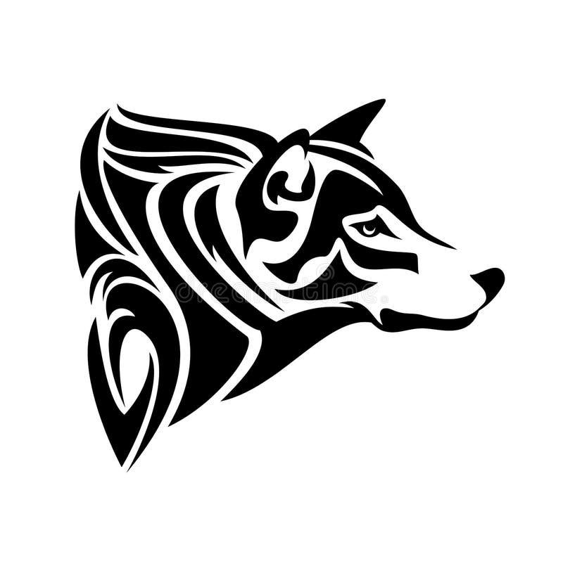 Дизайн вектора головы профиля волка черно-белый иллюстрация штока