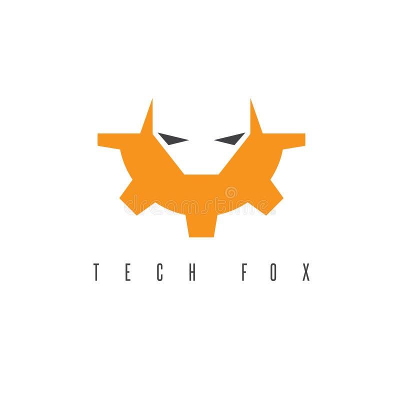 Дизайн вектора головы и шестерни Fox иллюстрация штока