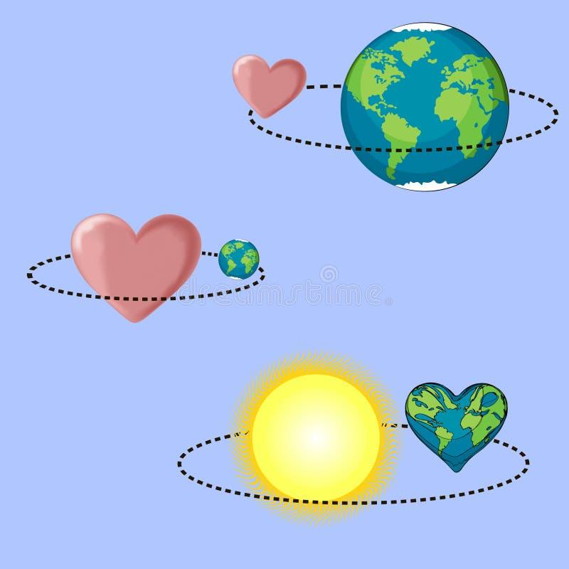 Дизайн вектора дня Валентайн дня земли стоковая фотография rf