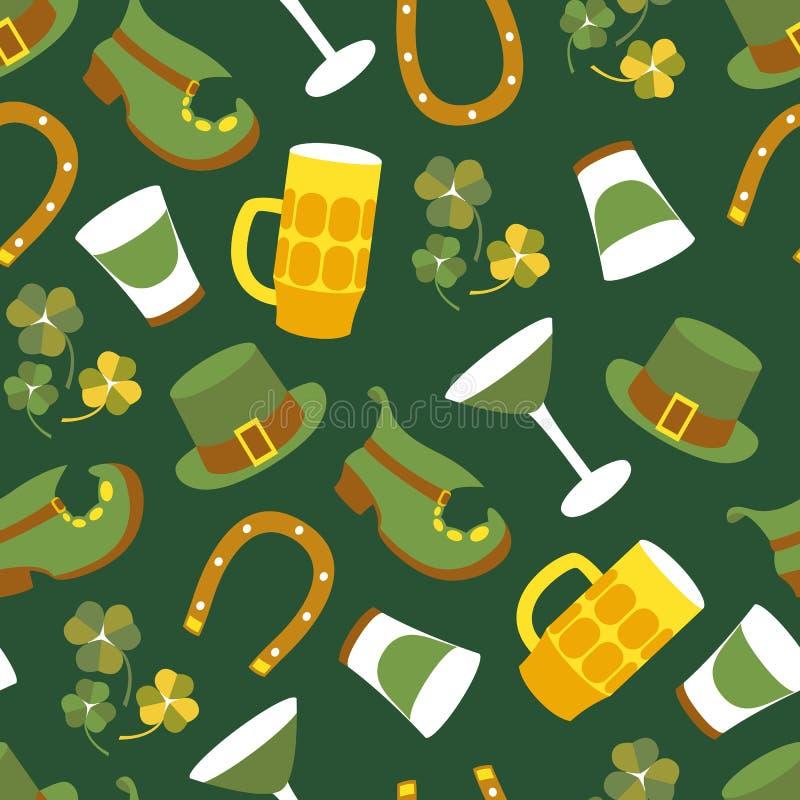 Дизайн вектора дня St Patricks картины элементов безшовной бесплатная иллюстрация