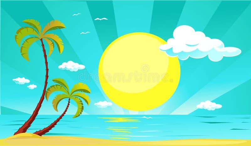 Дизайн вектора лета с солнцем, пальмой, пляжем и морем - вектором иллюстрация штока
