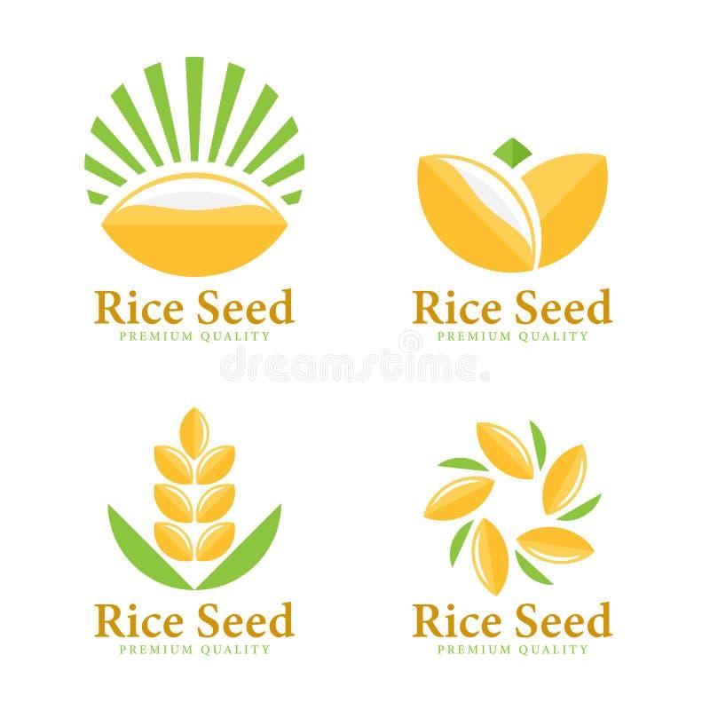 Дизайн вектора знака логотипа семени риса пшеницы установленный иллюстрация штока