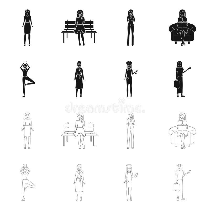 Дизайн вектора знака позиции и настроения Установите позиции и женского значка вектора для запаса иллюстрация штока