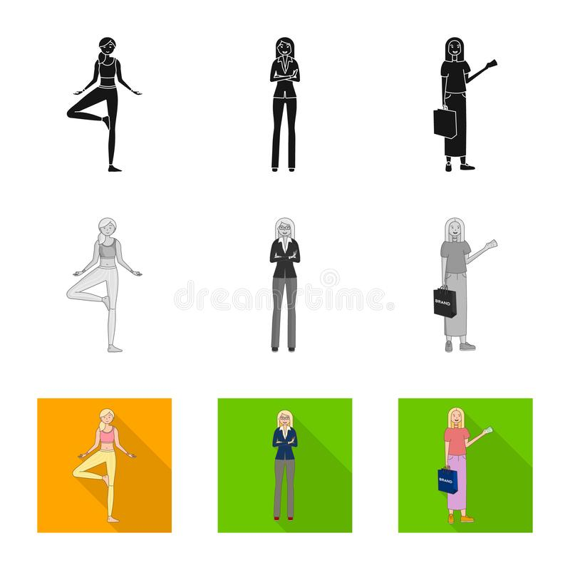Дизайн вектора знака позиции и настроения Установите позиции и женского значка вектора для запаса бесплатная иллюстрация