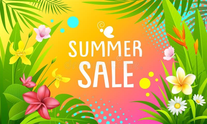 Дизайн вектора знамен продажи лета красочный тропический бесплатная иллюстрация