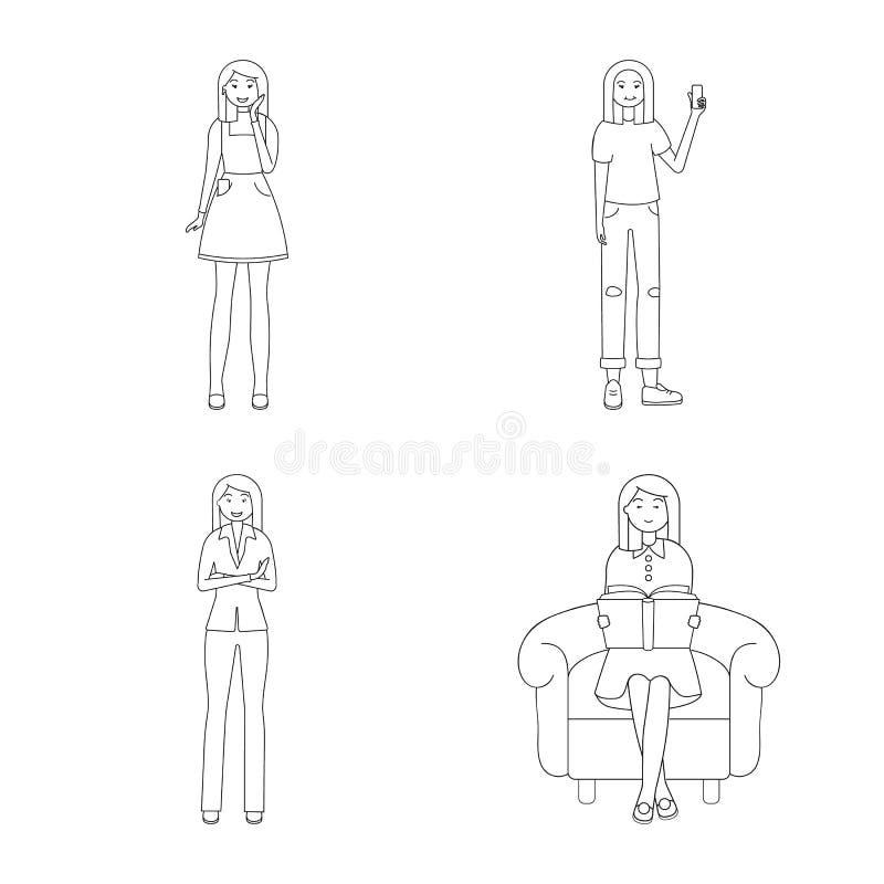 Дизайн вектора значка позиции и настроения Собрание позиции и женский значок вектора для запаса иллюстрация вектора