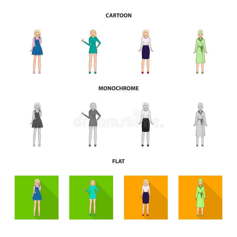 Дизайн вектора значка позиции и настроения Собрание позиции и женской иллюстрации вектора запаса иллюстрация штока
