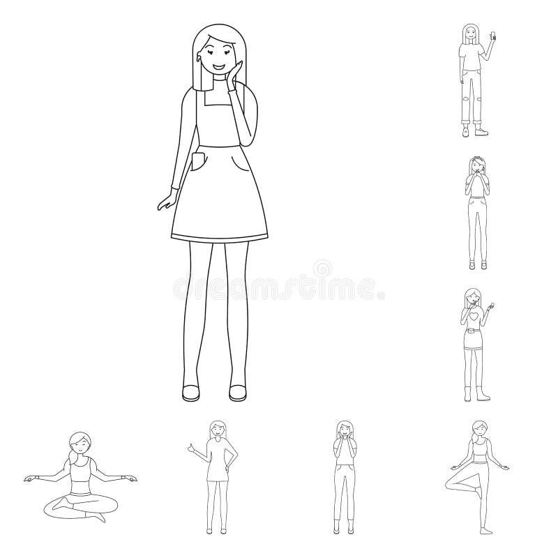 Дизайн вектора значка позиции и настроения Установите позиции и женского значка вектора для запаса иллюстрация штока