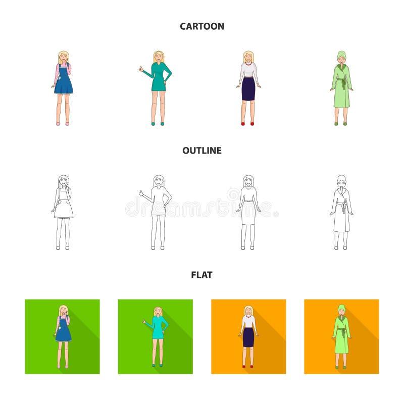 Дизайн вектора значка позиции и настроения Установите позиции и женского значка вектора для запаса бесплатная иллюстрация