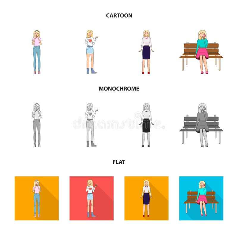 Дизайн вектора значка позиции и настроения Установите позиции и женской иллюстрации вектора запаса бесплатная иллюстрация
