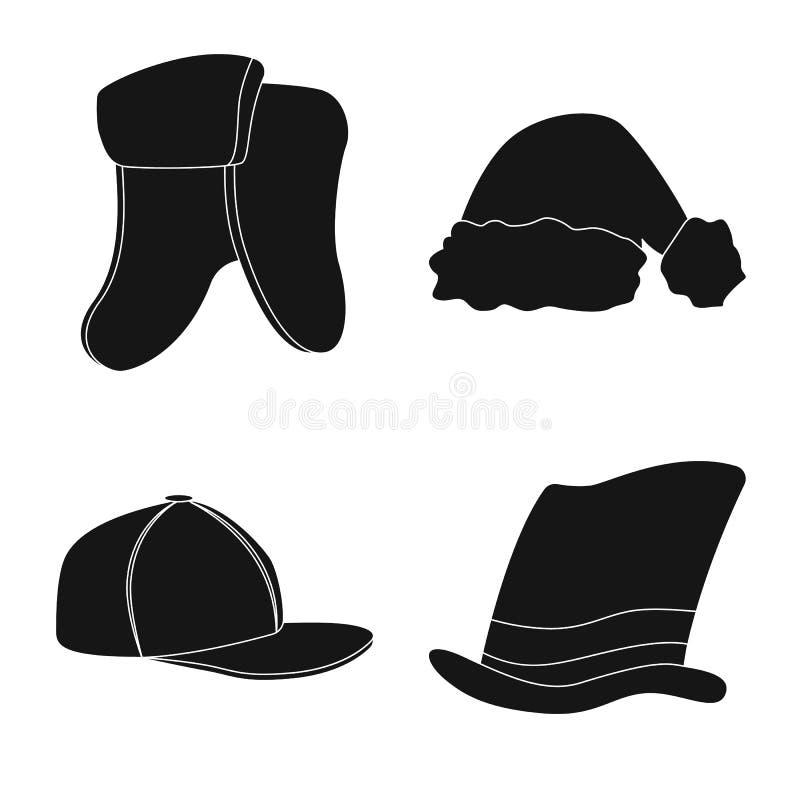 Дизайн вектора значка headgear и крышки Комплект иллюстрации вектора запаса headgear и аксессуара бесплатная иллюстрация