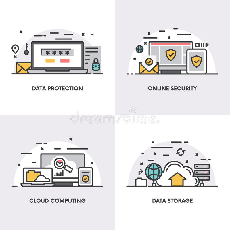 Дизайн вектора линейный Концепции и значки для защиты данных, онлайн безопасности, вычислять облака и хранения данных иллюстрация вектора