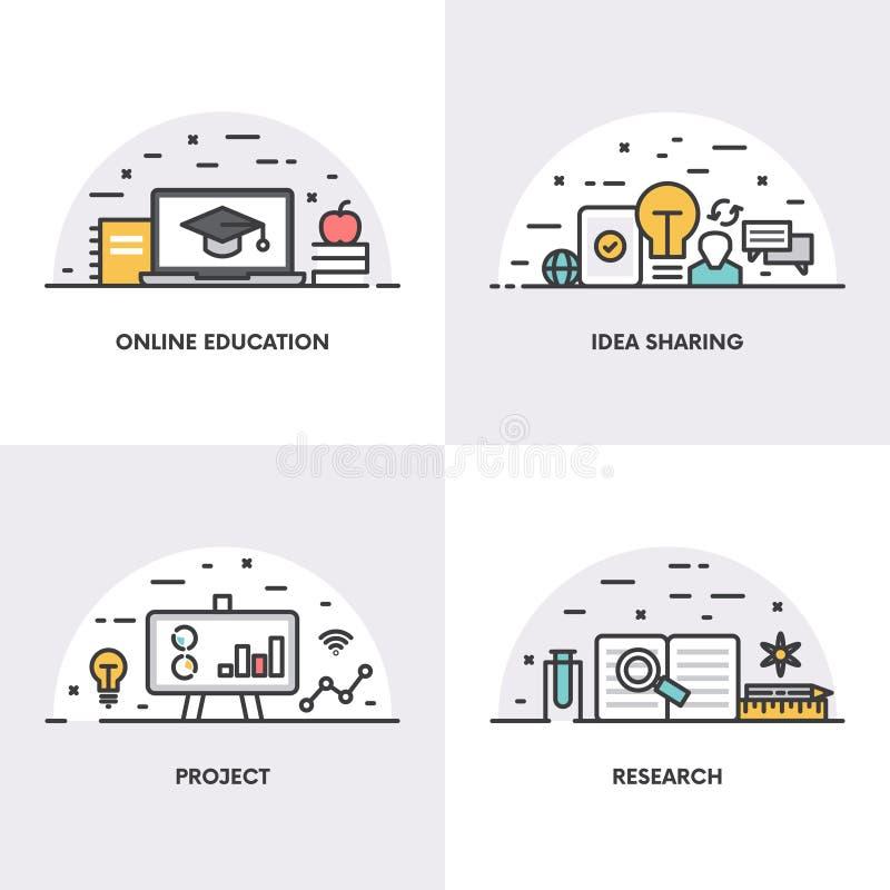 Дизайн вектора линейный Концепции и значки для онлайн образования, идеи деля, проекта и исследования иллюстрация штока