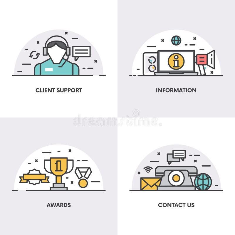 Дизайн вектора линейный Концепции и значки для поддержки клиента, информации, наград и страницы контакта иллюстрация штока