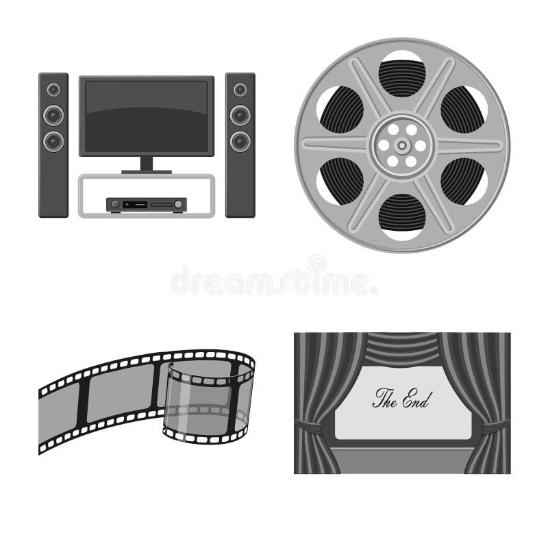 Дизайн вектора кинемотографии и значка студии Установите значка вектора кинемотографии и киносъемки для запаса бесплатная иллюстрация