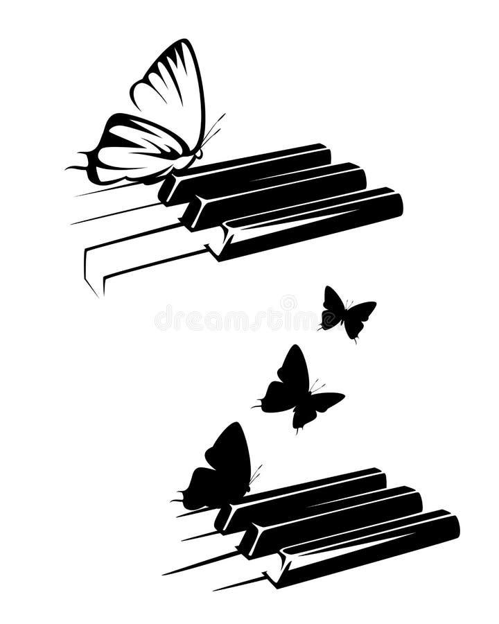 Дизайн вектора классической музыки ключей и бабочек рояля иллюстрация вектора