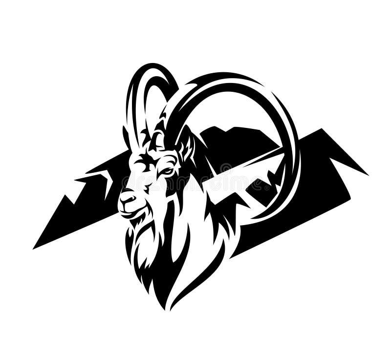 Дизайн вектора козы и горной цепи Ibex черный иллюстрация штока