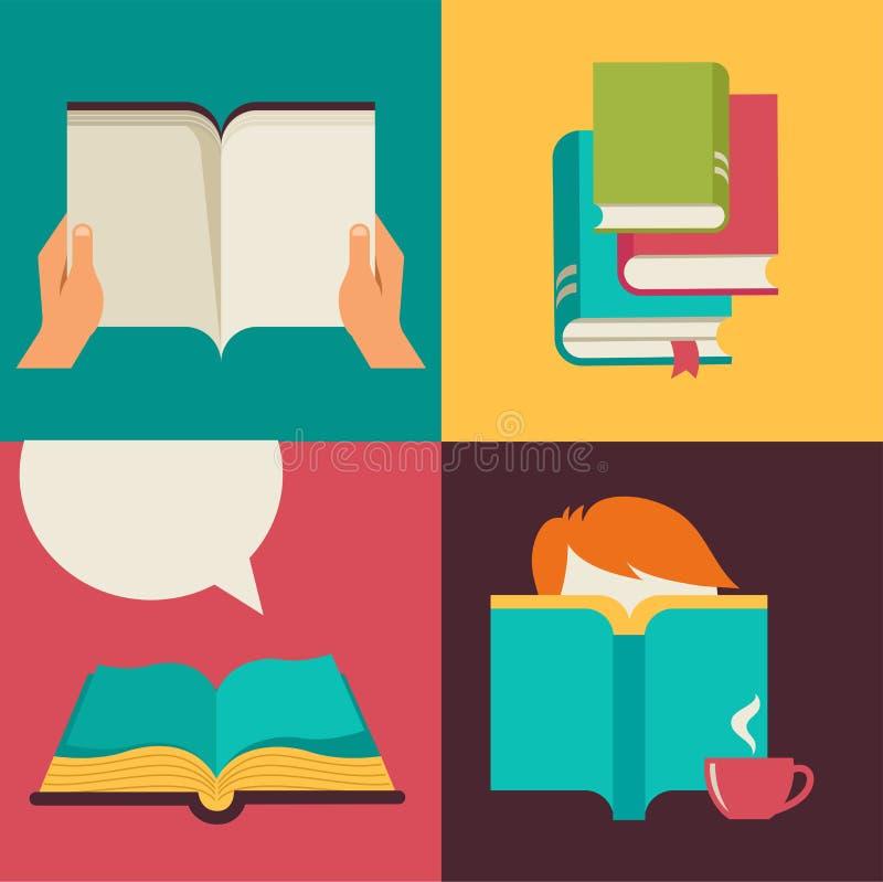 Дизайн вектора концепции книги и чтения иллюстрация штока