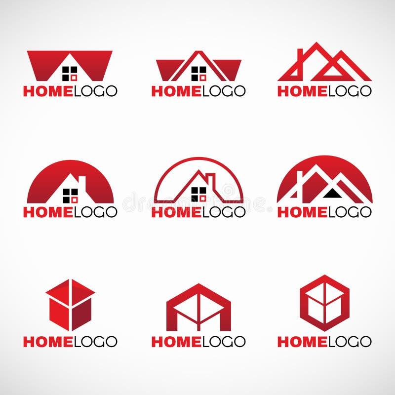 Дизайн вектора красного и черного домашнего логотипа установленный иллюстрация вектора