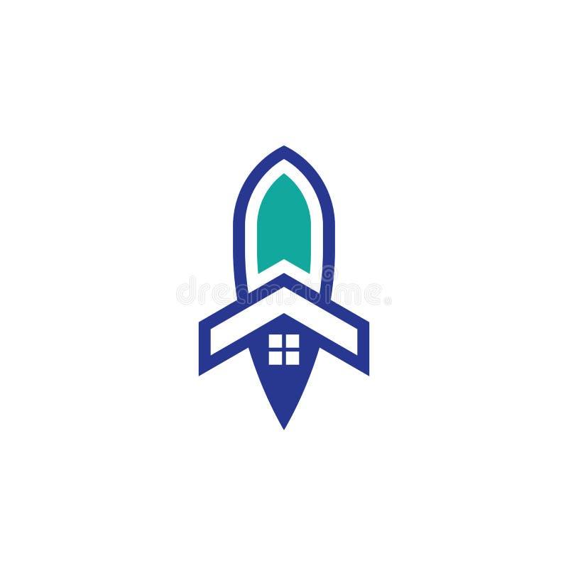 Дизайн вектора логотипа дела ракеты дома иллюстрация вектора