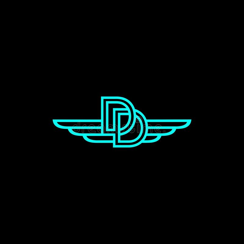 Дизайн вектора логотипа крыла DD стоковое фото rf