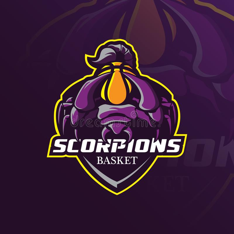 Дизайн вектора логотипа талисмана скорпиона с современным стилем концепции иллюстрации для печатания значка, эмблемы и футболки с бесплатная иллюстрация