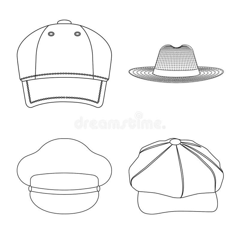 Дизайн вектора логотипа headwear и крышки Комплект иллюстрации вектора запаса headwear и аксессуара иллюстрация вектора