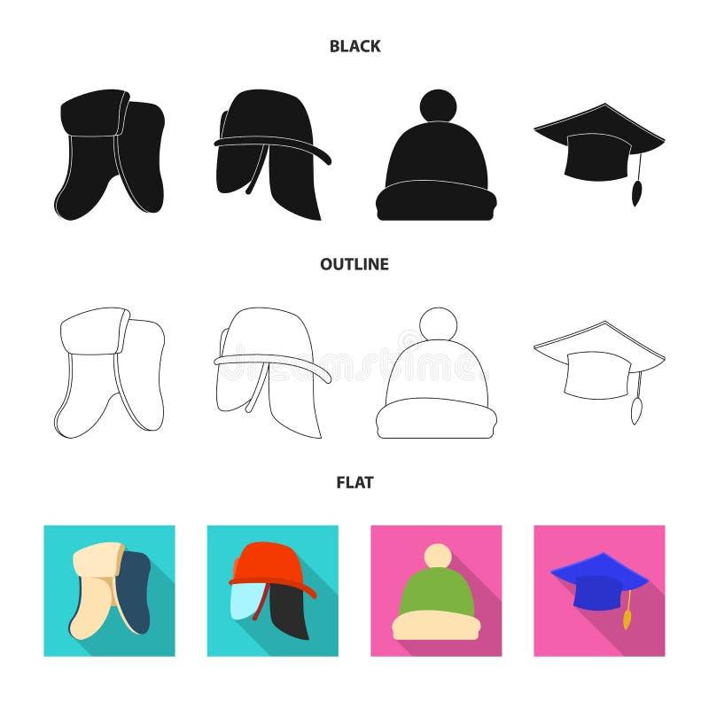Дизайн вектора логотипа headwear и крышки Собрание сокращенного названия выпуска акций headwear и аксессуара для сети иллюстрация штока
