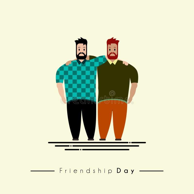 Дизайн вектора 2 людей обнимая празднующ день приятельства иллюстрация вектора