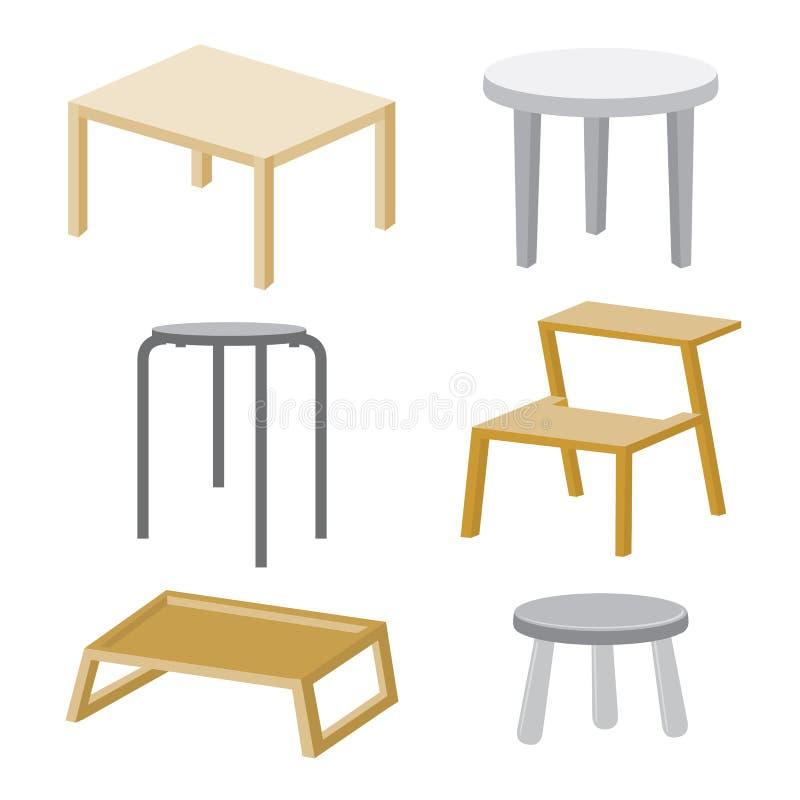 Дизайн вектора мебели стула таблицы деревянный бесплатная иллюстрация