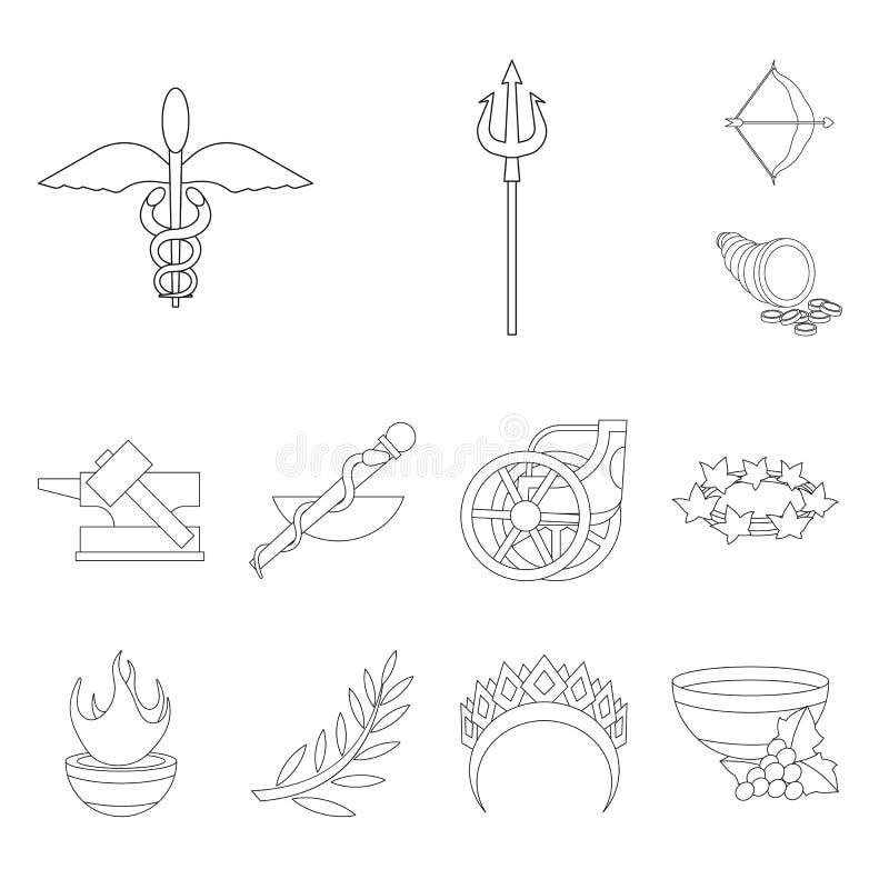 Дизайн вектора мифологии и знака бога Установите сокращенного названия выпуска акций мифологии и культуры для сети иллюстрация штока